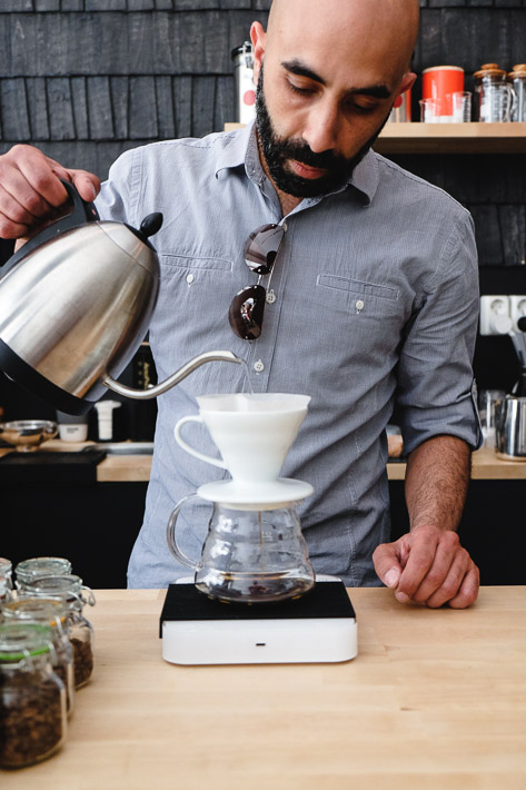 Pour over coffee at Mad Possum Coffee, a cafe in Helsinki